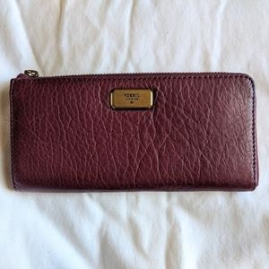 Fossil Emerson Large Zip Wallet Maroon